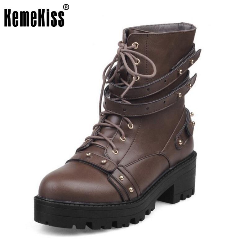 KemeKiss Size 33-47 Women Mid Calf Platform Boots Rivet Short High Heel Boots Warm Fur Shoes For Winter Botas Woman Footwears<br>