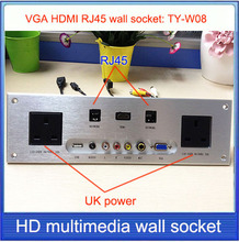 UK plug power socket \ HDMI VGA USB 2.0 RJ45 wall socket /Aluminum alloy /multimedia home hotel rooms KTV wall socket TY-W08(China)