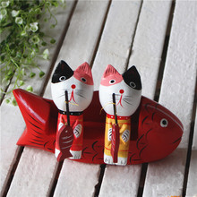 New Cute Couple Cat Wooden Crafts Set Kitten fishing Home Decoration Accessories Crafts Gift for Friend Desktop 1pcs 15*9*3.5cm(China)