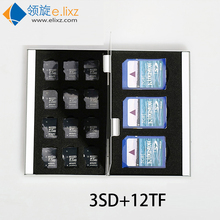 2017 Silver Red Blue Gold 15 In 1 Aluminum Storage Box Bag Memory Card Case Holder Wallet Large Capacity For 3* For Sd 12*mirco(China)