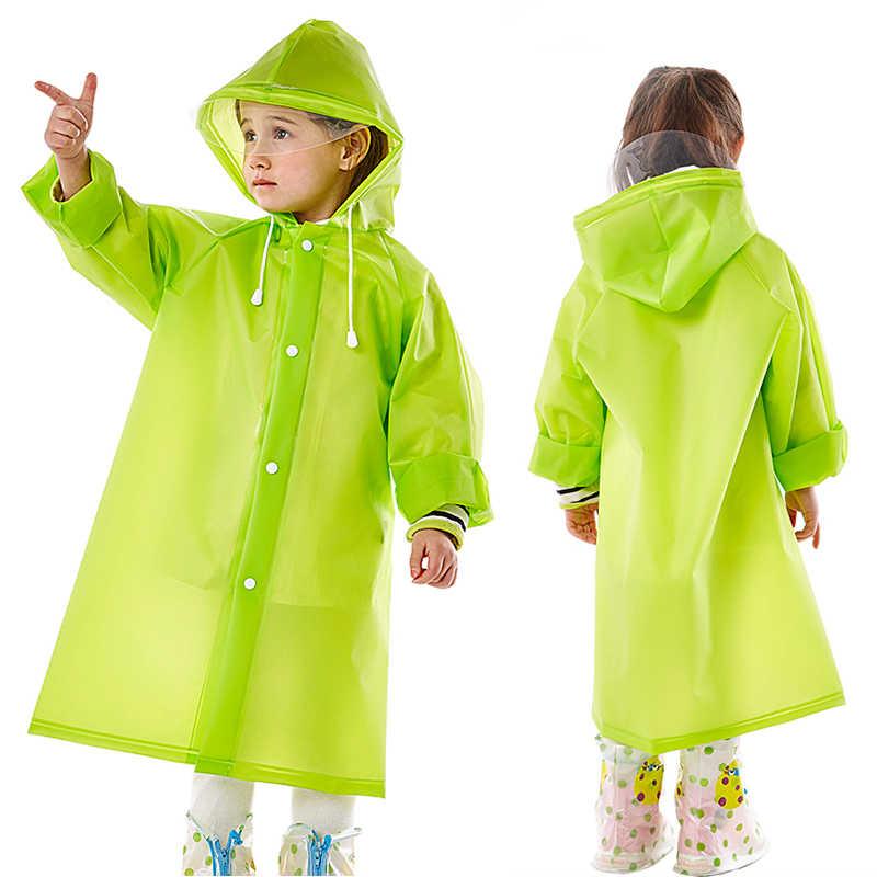 Kids Hooded Rainsuit EVA Durable Rain Poncho Raincoat Cover Long Solid Rainwear