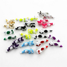 Free shipping Fashion new activities can be color fox zinc alloy silver lady earrings fashion Christmas gifts minimum wholesale(China)