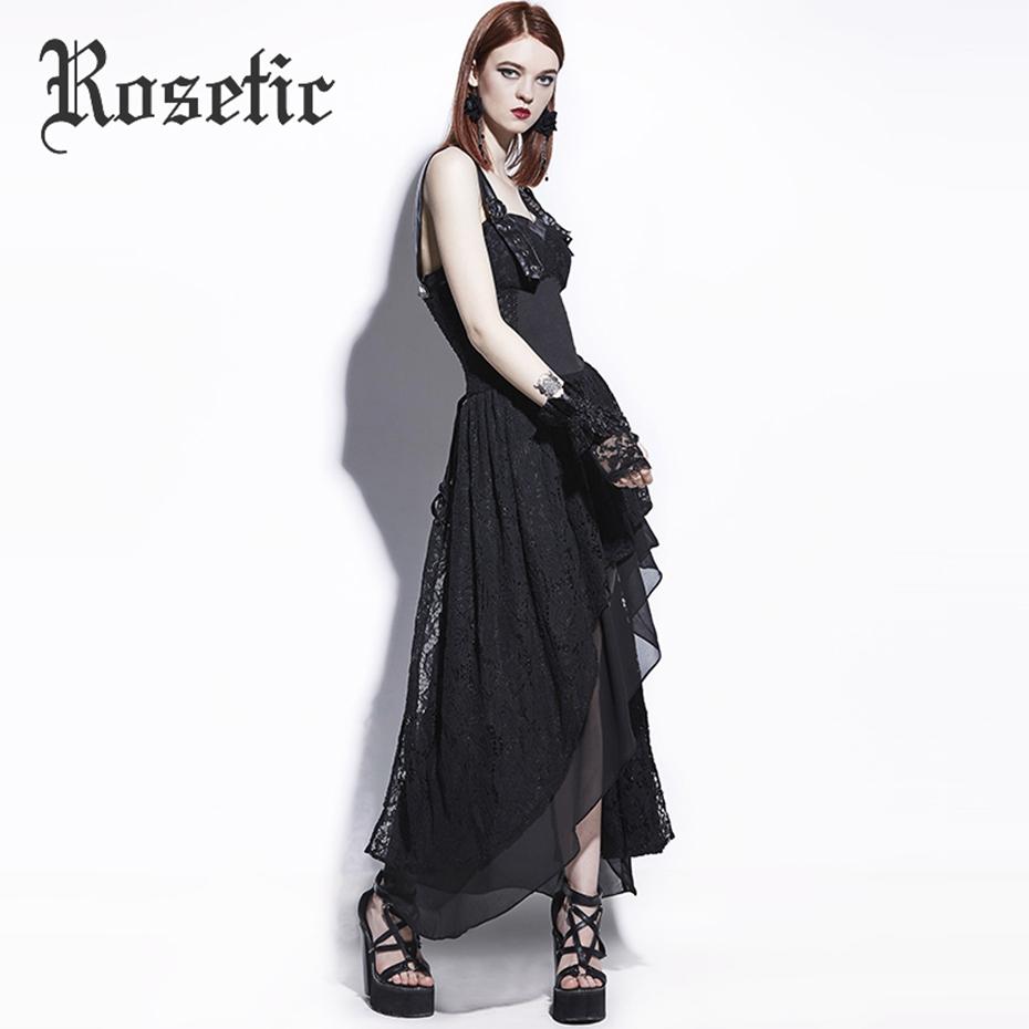 Rosetic Gothic Maxi Dress Black Asymmetric Women Summer Lace A-Line Fashion Wild Punk Street Rock Sequined Mod Goth Maxi Dresses 8