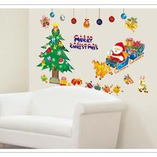 Merry Christmas Glass Stickers Removable Window Room Decoration Living Room Wall Decals christmas supplies A4(China)