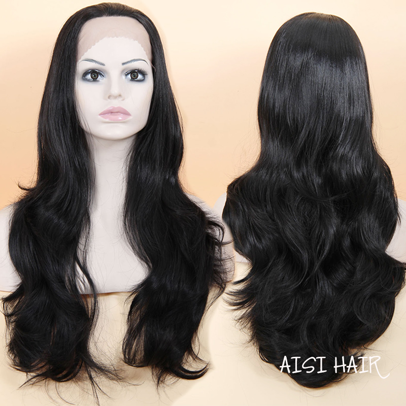 WISHHAIR Synthetic Lace Front Wig for Women Black Wig Heat Resistant  african american Wigs Long Wavy Fake Hair Drag Queen Curly<br><br>Aliexpress