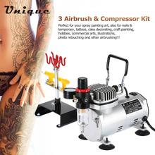 3 Airbrush & Compressor Kit Dual-Action Spray Air Brush Set Tattoo Nail Art Painting Tool