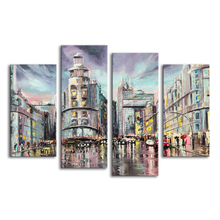 Modern Cityscape Oil Painting Printed on Canvas Raining Scenery Fine Arts 4 Pieces Digital Art Prints Home Wall Decor(China)