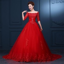 2017 Gorgeous Wedding Dresses Elegant Red Bridal Gown with Half Sleeve Brand New White/Ivory Ball Gown Lace Up Back Formal Dress