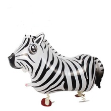 10pcs Walking Pet Balloons Zebra Walking Animal Foil Balloons Party Decoration Supplies kids Toys Globos Balony