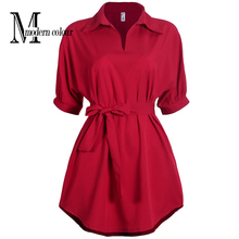 Casual Shirt Dresses Black Red Women Summer Dress 2017 New Arrivals Fashion Pollar Collar Short Sleeve Ladies Dress Plus Size(China)