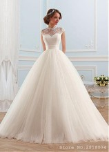 Vestidos De Novia Chic Ivory High Collar Ball Gown Wedding Dresses Robe De Mariage Wedding Gowns Dress With Beaded Lace