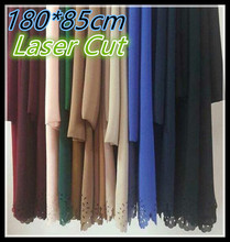 Jh93  180*85cm 10PCS 1LOT laser cut  top quality plain bubble chiffon Solid color shawls  hijab summer Scarves