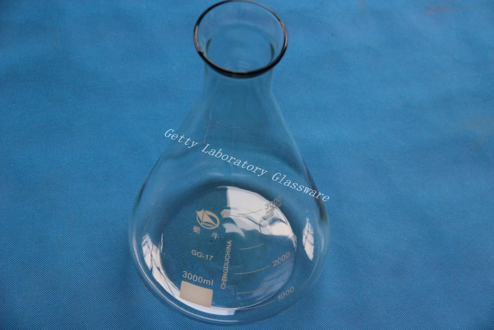 3000 mL Conical flask, Erlenmeyer flask , with wide mouth, (laboratory glass)<br>
