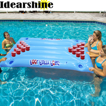 180*90cm Inflatable Beer Pong Table Pool Floats 24 Cup Hole 2017 New Stock Summer Water Party Fun Air Mattress Ice Bucket #71418