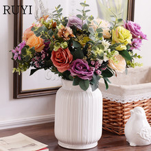 Artificial plastic rose  flower 11 head oil painting rose European style silk fake flower decoration bouquet hotel  wedding