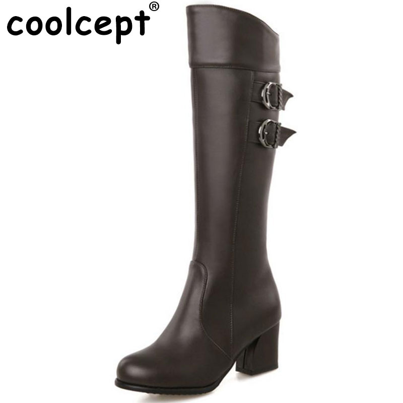 Coolcept size 30-52 women high heel over knee boots fashion winter warm riding long boot round toe footwear heels shoes P21142<br>