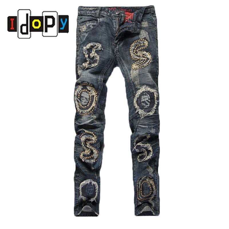 Mens Fashion Brand Designer Jeans Punk Style Embroidery Flares Slim Fit Denim Pants Ripped Jeans For MenОдежда и ак�е��уары<br><br><br>Aliexpress