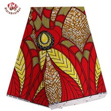 2017 New African Wax Print Fabric Super Wax Hollandais Fabric Wedding Red Bride Dress Fabric Ankara African Batik Fabric BRW261