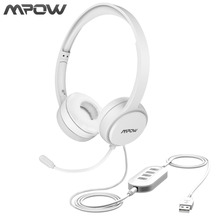 Mpow USB/3.5mm Plug Wired Headphones With Mic For Mac Skype Call Center PC Laptop Tablet Phones With Noise Reduction Card(China)