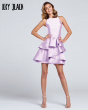 Joky Quaon New Arrive Off The Shoulder Open Back Tiered Skirt Above Knee Mini Lavender Satin Fashion Cocktail Party Dresses 2017