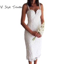 Summer Style White Black Lace Dress V Cami Bodycon Sexy cheap clothes china vestidos de festa mujer Casual office Midi Dresses(China)