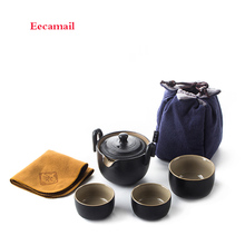 Black pottery fast off a pot of three cups of travel tea with a portable ceramic kung fu dry tea teapot cup bag Free shipping