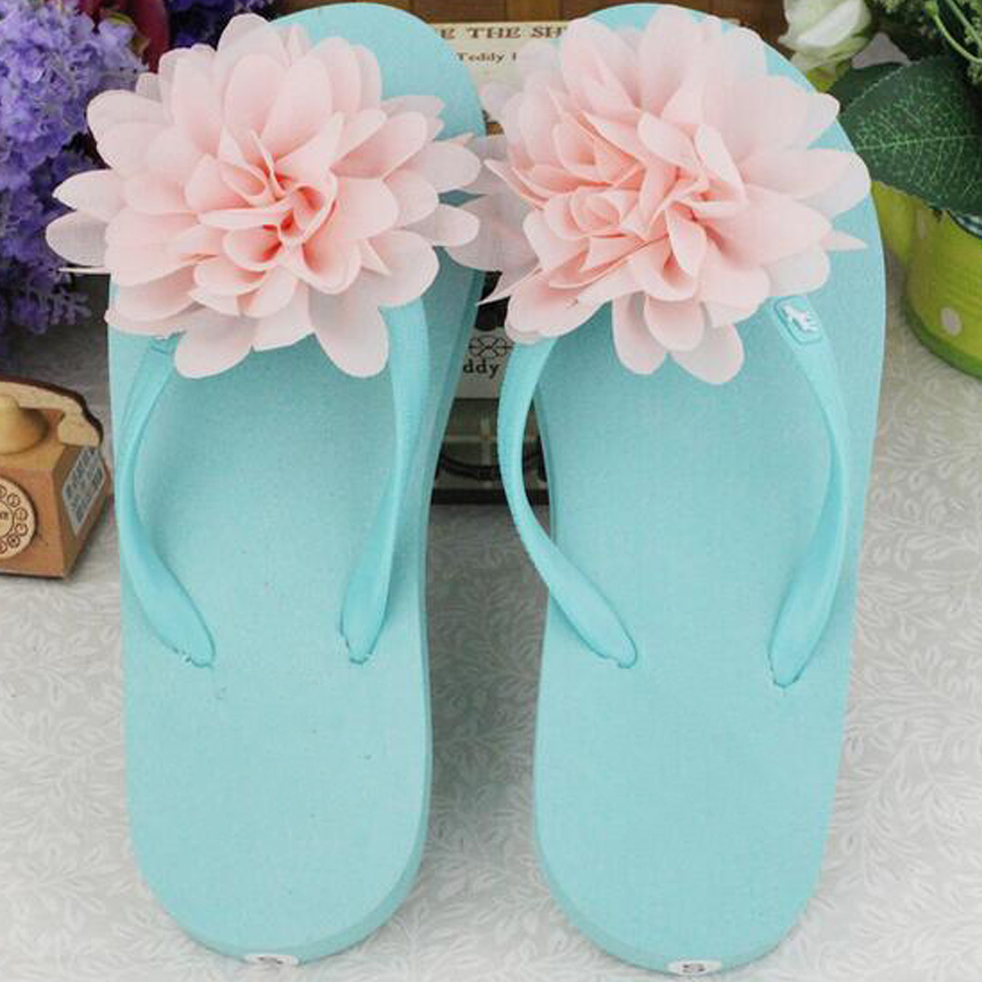 New arrival   women fashion Flip flops Stereo chiffon flower slippers female summer candy color lovely beach holiday sandals<br><br>Aliexpress