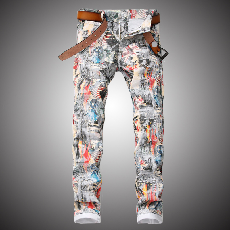 Mens White Jeans Pants 2019 Fashion Printed Denim Trousers Slim Hip Hop Streetwear Jeans Pencil Pant for Men WY297