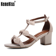 KemeKiss Size 33-42 Sexy Lady Real Leather High Heel Sandals Bowtie Summer Shoes Ankel Strap Sexy Club Sandal Female Footwear