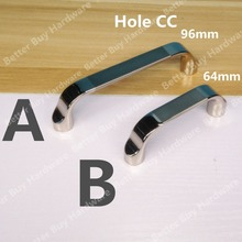 Hole Pitch 64mm/96mm Modern furniture wardrobe handle cabinet drawer pulls middle satin and double-edge shiny