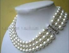 Beijing girl shop Charming! 3rows White South Sea Shell Pearl Round Beads Necklace(China)