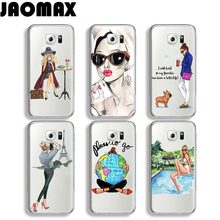 Jaomax Shopping Yoga lady Travel Girl Case For Samsung Galaxy J7 A3 A5 Note 3 4 5 8 J3 J5 Transparent Silicone Phone Cover Shell(China)