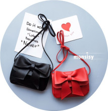 Monsisy Cute Children Bags Bowknot Handbag for Girls Fashion Baby PU Faux Leather Shoulder Bags Candy Coin Purse Wallet Bags