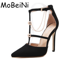 Women Pumps Fashion Designer Metal Chain T-Strap Buckle High Heels Sexy Pointed Toe Stiletto Pumps Ladies Elegant Wedding Shoes(China)