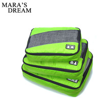 Mara's Dream New Breathable Travel Bag 3 Set Packing Cubes Luggage Packing Organizers with Shoe Bag Carry on Travel Bags(China)