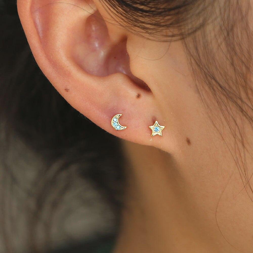 Girls Moon Plain Ear Studs 925 Sterling Silver