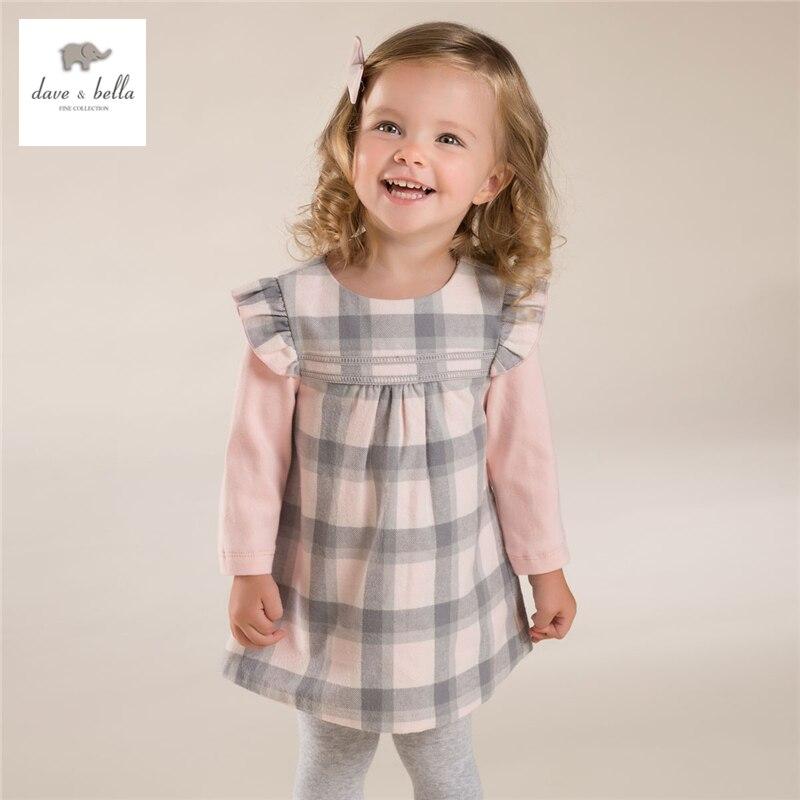 DB3878 dave bella autumn baby girl princess dress baby pink plaid dress kids birthday clothes dress <br>