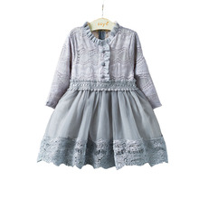 Korean girls long sleeved Lace Princess Dress baby girl clothes red dresses for toddler children autumn winter dress kids 9 T(China)