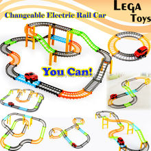 2 styles Changeable electric rail car Electric Racing rail car kids train track model toy baby  Railway Track Building Slot Set