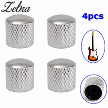 Zebra 4pcs 6mm Kirsite Bass Tunning Dome Tone Volume Control Buttons Electric Guitar Knobs for Tele Guitar Bass Silver Color(China)