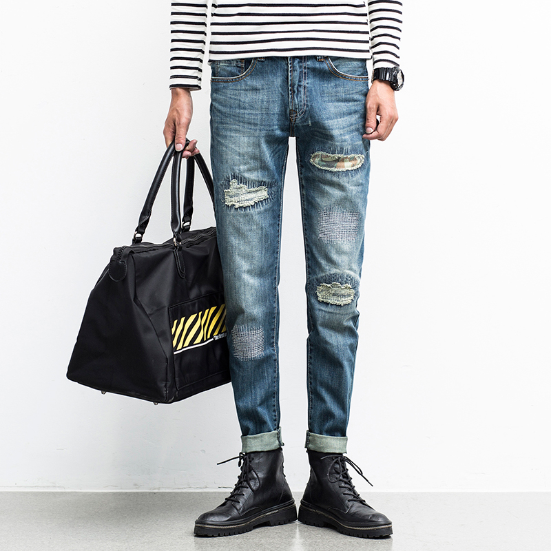 New 2017 Mens Solid Jeans Vintage Denim Pant Quality Cotton Straight Ripped Jeans Slim Fit Biker Jeans Men Casual Pant TrousersОдежда и ак�е��уары<br><br><br>Aliexpress