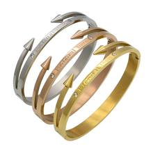 "New Arrival Brand Conical Arrows Cubic Zirconia Stone Bracelets & Bangles Gold Color ""Eternal love"" Nail Cuff Bracelet For Women(China)"