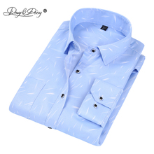 DAVYDAISY Men Shirt Long Sleeve Fashion Solid Floral Printed Plaid Solid Male Casual Shirts Brand Dress Shirt Man DS049