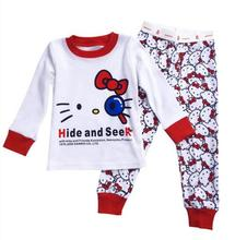 2016 New Spring KT Cats Clothes Girls Cartoon Pijamas Baby Pajamas Pyjamas Hello Kitty Clothing set Kids Printed Sleepwears