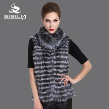 SISILIA 2016 New Women's Silver Fox Vest Natural Fur Jacket Short Style Female Fur Vest Genuine Fur(China)
