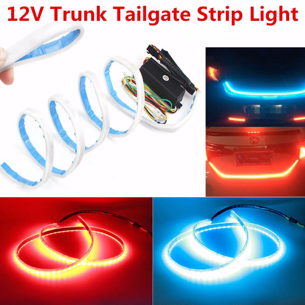 Triclicks LED Blue DRL Red Brake Turn Signal Strip Light Car Truck SUV Trunk Tailgate 12V Car Multi-Function Indication Lights<br>