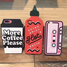 "New 3D Cartoon Coffee Cup Tape Pepper Pot Bottle Case Soft Soft Silicone Back Cover for Apple iPhone 6 6S 7 4.7"" & Plus 5.5"""