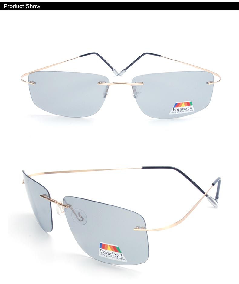 Vazrobe (5s Change Color) Photochromic Sunglasses Men Women Titanium polarized Sun Glasses Chameleon Rimless Anti-glare Driving 3