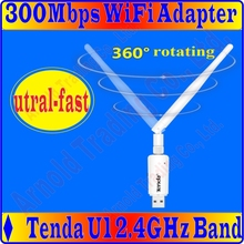 Tenda U1 300Mbps Utral-Fast Wireless N USB Adapter Network Adaptor with one external antenna, Supports soft AP, Free&shipping(China)