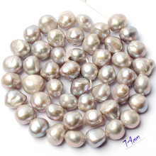 "Free Shipping 7-9mm Natural Gray Freshwater Pearl Irregular Shape DIY Gems Loose Beads Strand 15"" Jewelry Accessory w1060(China)"